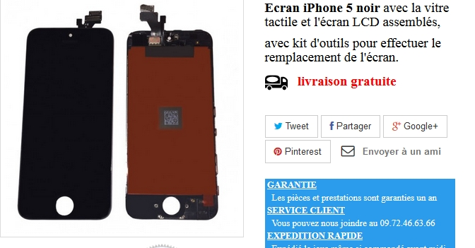 ecran iphone 5s avec vitre tactile